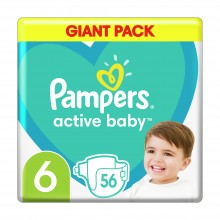 Подгузники Pampers Active Baby Размер 6 (Extra large) 13-18 кг 56 шт (8001090950130)