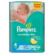 Підгузники дитячі Pampers Active Baby (4) Maxi  7-14 кг 76 шт. Giant pack