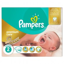 Подгузники Pampers Premium Care New Baby Размер 2 (Mini) 3-6 кг, 148 шт (4015400770275)