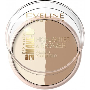 Компактная пудра для лица Eveline Highlighter & Bronzing Art Professional Make-up № 57 Glam Dark (5901761941012)